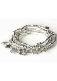 ChloBo Newbies Mini Noodle Sparkle Rice Love Heart Bracelet - Silver