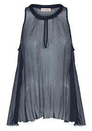 CUSTOMMADE Narin Sheer Silk Top - Navy Blazer