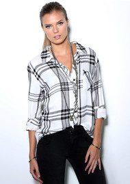 Rails Hunter Shirt - White, Black & Charcoal