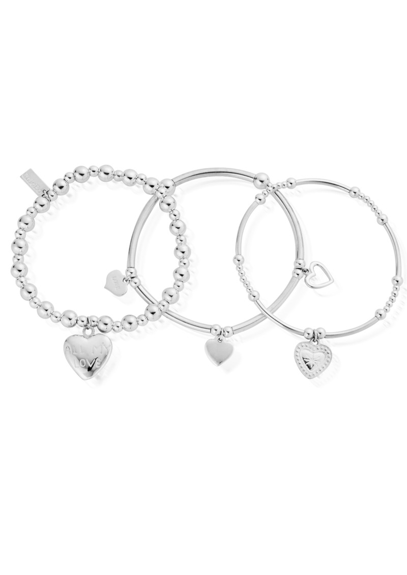 Stack of 3 Love Bracelets - Silver main image