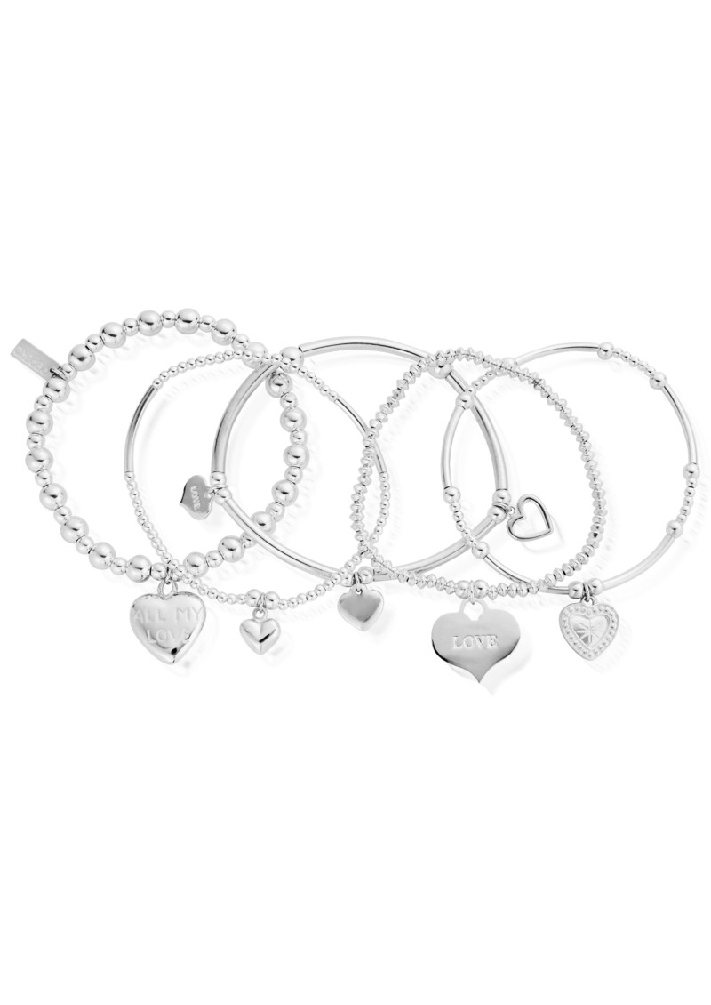 Stack of 5 Love Bracelets - Silver main image