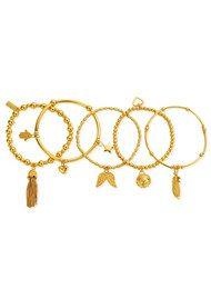 ChloBo Stack Of 5 Freedom Bracelets - Gold