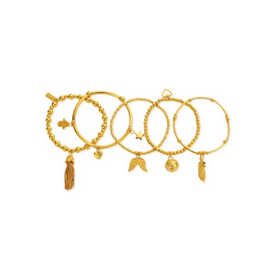 Stack Of 5 Freedom Bracelets - Gold