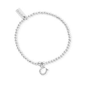 Cute Charm Bracelet with Horseshoe Charm - Silver
