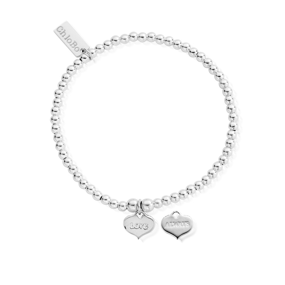 Cute Charm Bracelet with Love Always Heart Charm - Silver