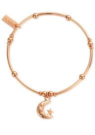 ChloBo Mini Noodle Ball Moon & Stars Bracelet - Rose Gold
