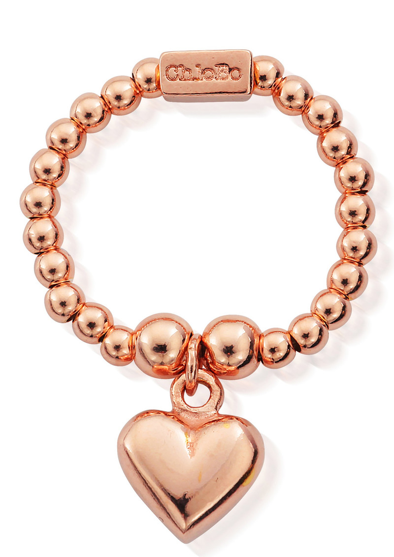 ChloBo Mini Ball Ring with Puffed Heart - Rose Gold main image