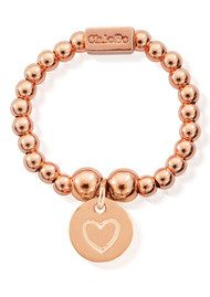 ChloBo Mini Ball Ring with Heart in Circle - Rose Gold