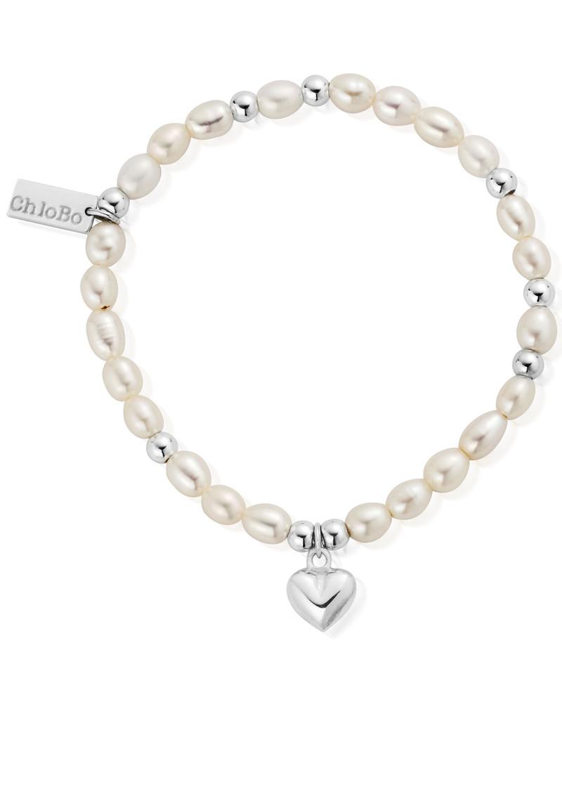 ChloBo Mini Pearl Puffed Heart Bracelet - Pearl & Silver main image