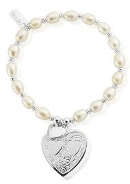 ChloBo Pearl Disc Decorated Heart Bracelet - Silver