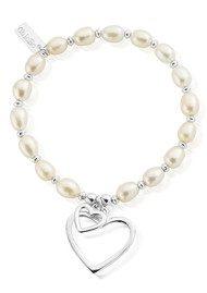 ChloBo Pearl Disc Double Open Heart Bracelet - Pearl & Silver