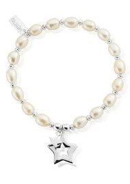 ChloBo Pearl Disc Double Open Star Bracelet - Pearl & Silver