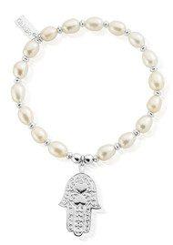 ChloBo Pearl Disc Hamsa Hand Bracelet - Pearl & Silver