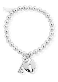 ChloBo Small Ball Lock & Key Bracelet - Silver