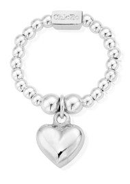 ChloBo Mini Ball Puffed Heart Ring - Silver