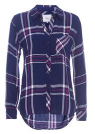 Rails Hunter Shirt - White, Navy & Orchid