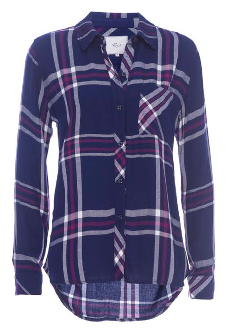 Rails Hunter Shirt - White, Navy & Orchid main image