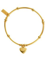 ChloBo Mini Noodle Ball Heart Bracelet - Gold