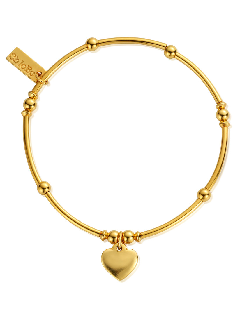 ChloBo Mini Noodle Ball Heart Bracelet - Gold main image