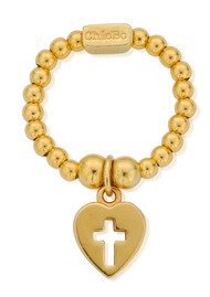 ChloBo Mini Ball Cross in Heart Ring - Gold