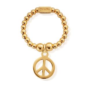 Mini Ball Peace Ring - Gold
