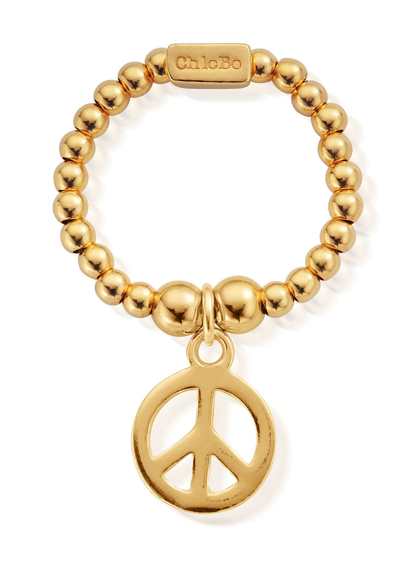 ChloBo Mini Ball Peace Ring - Gold main image