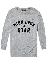 Maison Scotch Boxy Fit 'Wish Upon A Star' Sweatshirt - Grey Melange