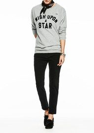 Maison Scotch Boxy Fit 'Wish Upon A Star' Sweatshirt - Grey Melange