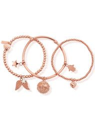 ChloBo Stack of 3 Harmony Bracelets - Rose Gold