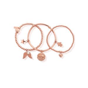 Stack of 3 Harmony Bracelets - Rose Gold