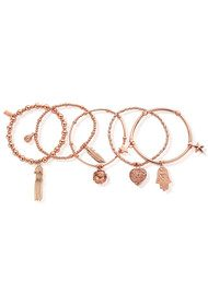 ChloBo Set of 5 Protection Bracelets - Rose Gold
