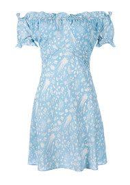 RIXO London Kiera Off Shoulder Mini Dress- Blue Cream Rosemary