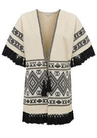 ALPHAMOMENT Patterned Fringe Kimono Jacket - Cream