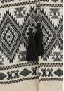 ALPHAMOMENT Patterned Fringe Kimono Jacket - Cream