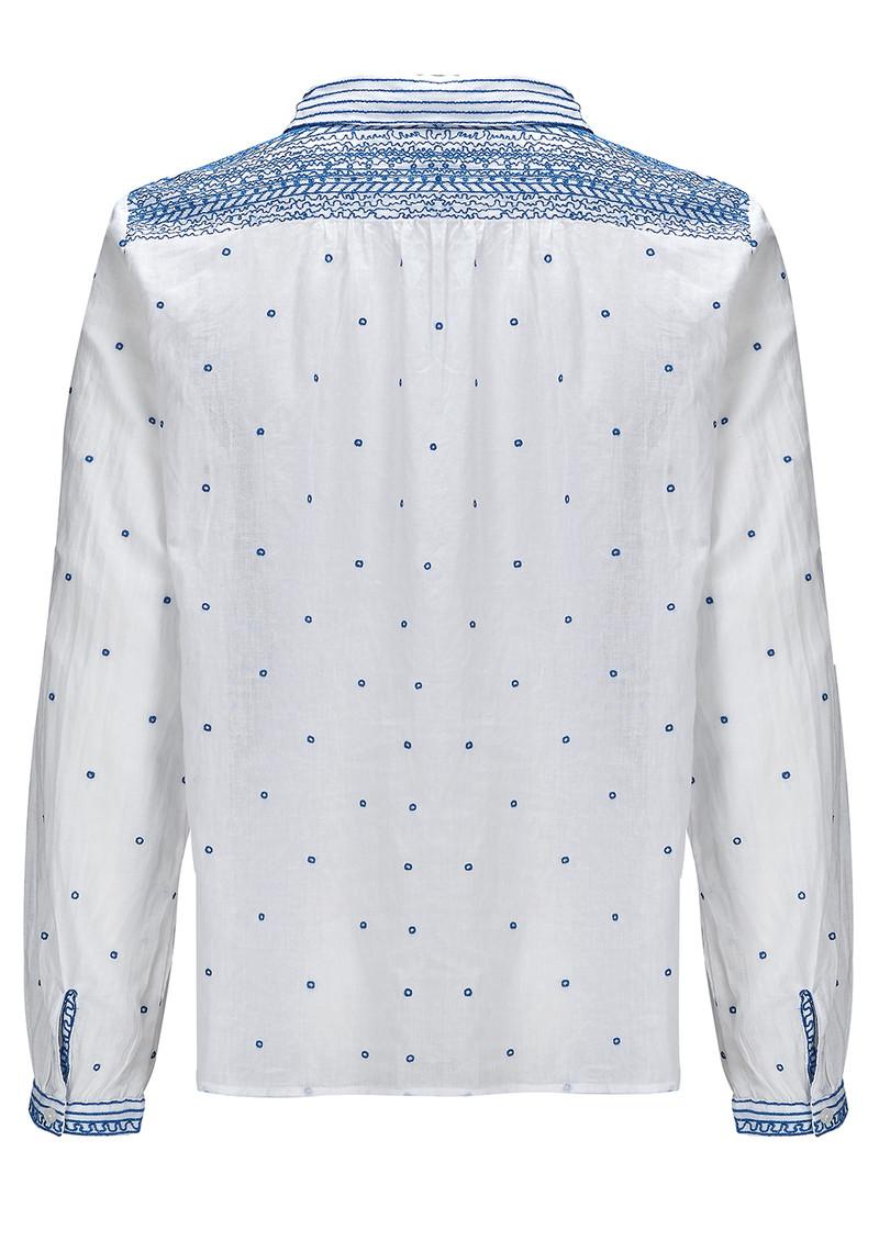 Ba&sh Marcus Cotton Shirt - White & Blue main image