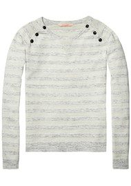 Maison Scotch Striped Pullover with Buttons - Combo A