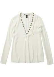 Maison Scotch Beaded V Neck Blouse - Cream