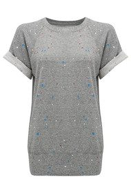 Current/Elliott The Rolled Sleeve Top - Heather Grey Paint Splat