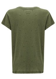 Current/Elliott The Crew Neck Tee - Army Green Falling Star