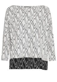 Great Plains Zig Zag Ottoman Top - Milk White & Black