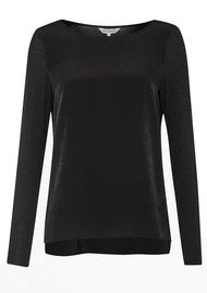 Great Plains Creature Comforts Top - Charcoal Melange & Black