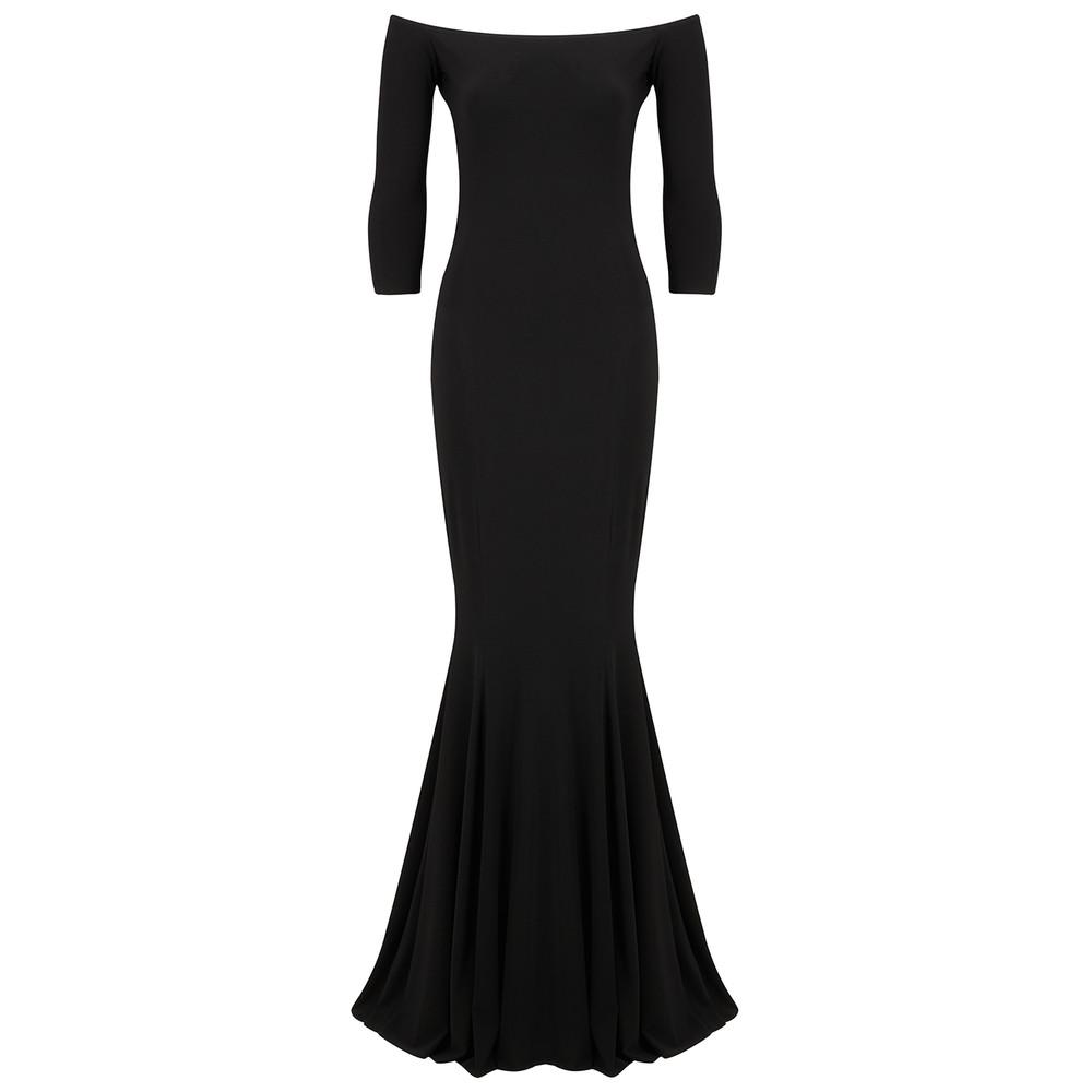 Off Shoulder Fishtail Gown - Black