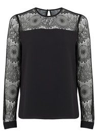 COOPER AND ELLA Pasha Long Sleeve Lace Top - Black