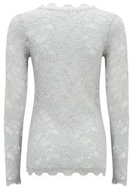 Rosemunde Long Sleeve Lace Top - Cement Grey