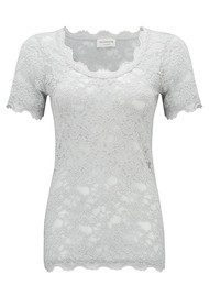 Rosemunde Short Sleeve Lace Top - Cement Grey