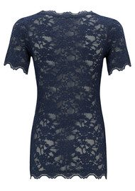 Rosemunde Short Sleeve Lace Top - Dark Blue