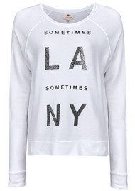 'LA Sometimes NY' Cropped Pullover - Vintage White
