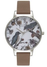 Olivia Burton Woodland Birds in Love Watch - Taupe & Silver
