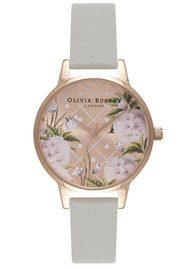 Olivia Burton Dot Design Floral Watch - Grey & Rose Gold