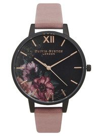 Olivia Burton After Dark Black Dial Floral Watch - Rose & Rose Gold